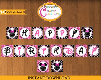 INSTANT DOWNLOAD - Pink Minnie Mouse Banner - Minnie Mouse Printable Banner- Pink Minnie Mouse Birthday Party Banner -CraftyCreationsUAE