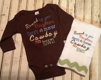 New cowboy in town onesie and burp cloth set - Cowboy Onesie/Burp Set - Boys Cowboy -Newborn cowboy Set