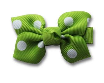 cute hair bow, green baby bow, cute hair clip, kids accessories, lime green, dots bow.
