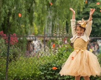 Gold flower girl tutu dress, crochet tutu dress, toddler tutu dress, wedding tutu dress