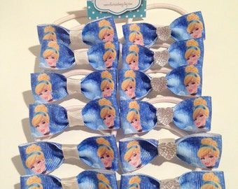 Cinderella Birthday Party Favors Hair Bow Elastic Ties + Boutique Bottlecap Necklace option 10 or 12 packs