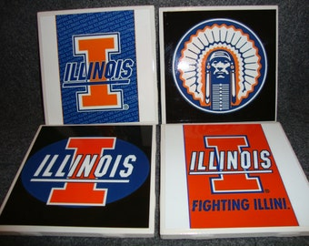 Fighting Illini Coasters (set of 4)