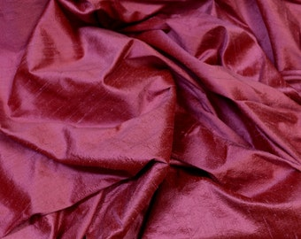 "Iridescent Raspberry Pink Dupioni Silk, 100% Silk Fabric, 44"" Wide, By The Yard (S-231)"