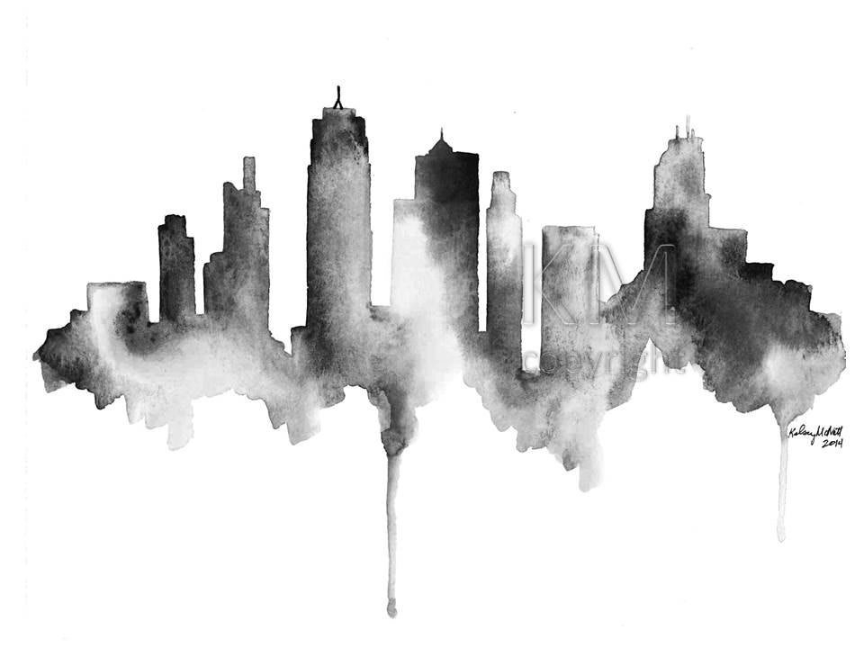 Line Drawing With Watercolor : Kansas city skyline print of original watercolor painting