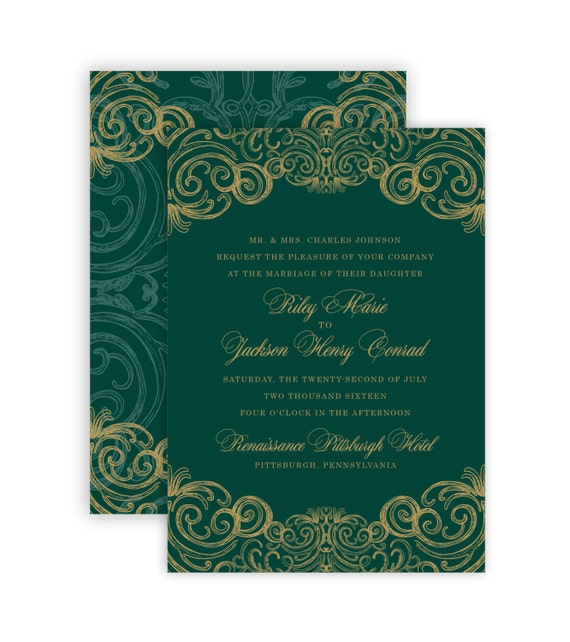 Wedding E Invitations: Items Similar To Regal Swirl (Royal Emerald And Gold