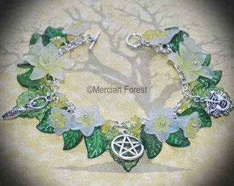 Daffodil and Daisy Goddess and Greenman Bracelet - Pagan Jewellery, Ostara, Spring, Equinox