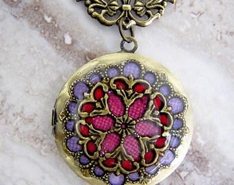 Red Purple Large Filigree Locket Wedding Gift Keepsake Necklace - Vintage Inspired Multi Color Brass Locket - Large Memorial Photo Locket