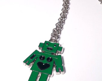 Green Robot Pendant; Happy Robot Necklace