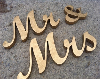 Wooden letters Mr and Mrs. wedding signs for table decoration Mr and Mrs  GOLD signs Wedding signs