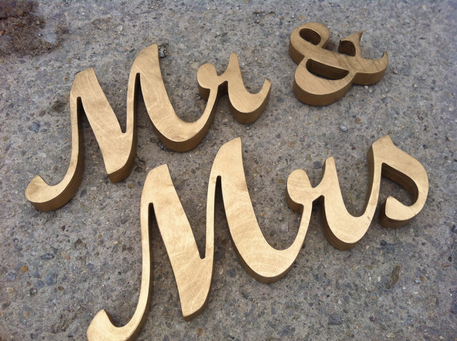 GOLD Mr. & Mrs. Wooden Freestanding Letters For Wedding Table