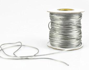 1mm GREY SATIN STRING - Metallic Silver Grey Cord (1mm diameter) sold by 5m length
