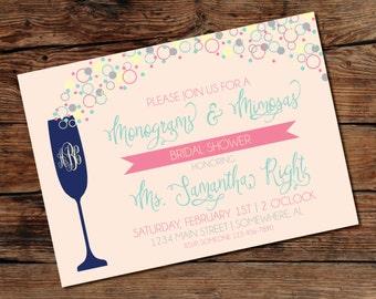 PRINTABLE Monograms and Mimosas Shower Invitation - Digital File - Print-at-Home