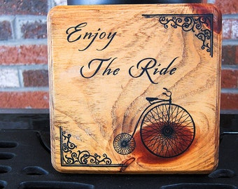 Enjoy the Ride Wood Sign with Old Fashioned Bicycle