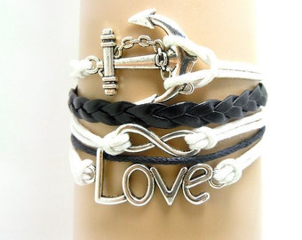 Infinity LOVE Leather bracelet, Handmade White Friendship Bracelet,Black Leather Bracelet