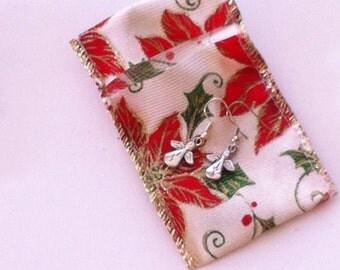 Small Silver Tone Angel Earrings, Nickle Free Earrings, Holiday Jewelry, Angel Jewelry, Earrings with Angels