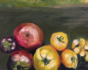 Garden Tomatoes Original Oil Painting on Gessobord