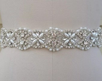 Pearls and crystals wedding dress sash. High quality