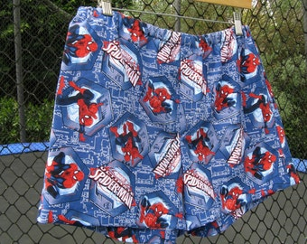 Handmade Spiderman Boxer Shorts.  Super hero underwear,  Mens cotton boxers. Size Medium.