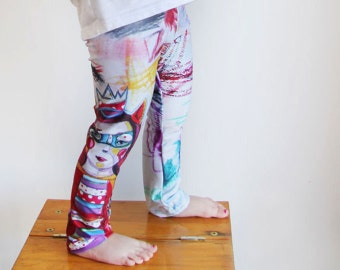 Baby leggings, super-hero, gril power, children drawing, originals illustrations by Kim Durocher, printed on polyester spandex fabric.