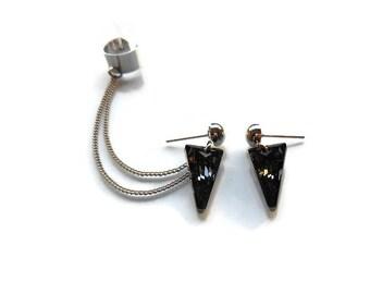 Spike/triangle ear cuff earrings, Ear cuff earrings with Swarovski spike crystals, Rock Style earrings