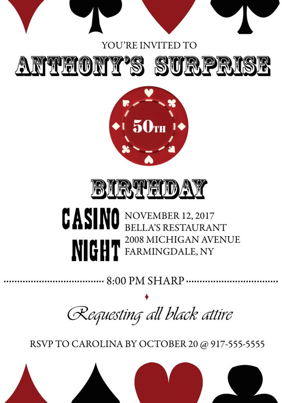 Surprise casino party invitations poker game for nokia e6 casino theme party invitation wording yahoo answers stopboris Images