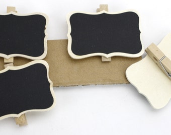 Set of 4 chalkboard  Wooden clips, clothespins.Great for gifts, favors, rustic and primitive decorations, weddings, events, catering(CBS214)