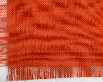 """Orange Burlap Table Runner 24""""x108"""" with fringe, fine weave, rustic country weddings, home decor. Available in other colors.(BF-L21)"""