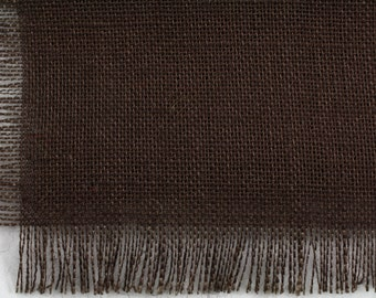 """Chocolate brown Burlap Table Runner 24""""x108"""" with fringe, fine weave, rustic country weddings, home decor.Available in other colors.(BF-L26)"""