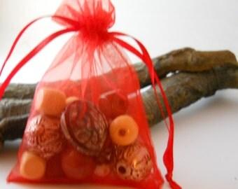 25 Organza Bags 3.5x4.5, Red Organza Bag,Gift Bag, Drawstring Bag, Sheer Organza, Favor Bag, Supplies, Sheer Bag,Elegant Jewelry Bag,Organza