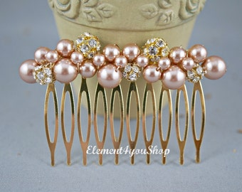 Bridesmaid comb, Bridal comb, Pearl comb, Rhinestone comb, Gold wedding hair comb, Wedding hair accessories, Bridesmaid gift Bridal party