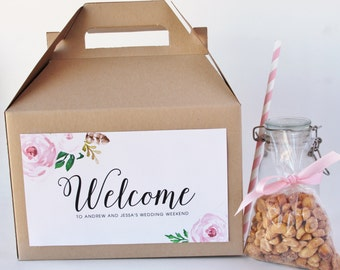 Set 10 Hotel Welcome Box - Kraft Gable Box with custom Labels in Blush Pink Roses Floral- Destination Wedding