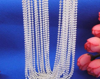 Pretty .925 Sterling Silver Ball Beads Chain Necklaces 20""