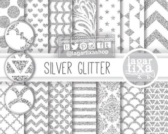 Silver Glitter Digital, Paper Backgrounds, Patterns, Scrapbooking, Blog, invitations, thank you cards