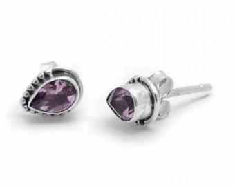 Amethyst Crystal Stud Earrings Semi Precious Stone Gemstone Earrings Crystal Jewellery
