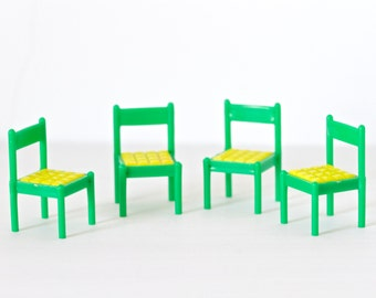 Green and Yellow Kitchen Chairs - Miniature Doll House Furniture - set of 4 - Made in Hong kong