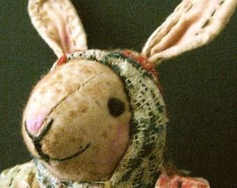 "Rabbit OOAK Primitive Folk Art Rabbit ""CLAIRE in her KERCHIEF""-Original Design from Vintage Quilt &Antique Coverlet"