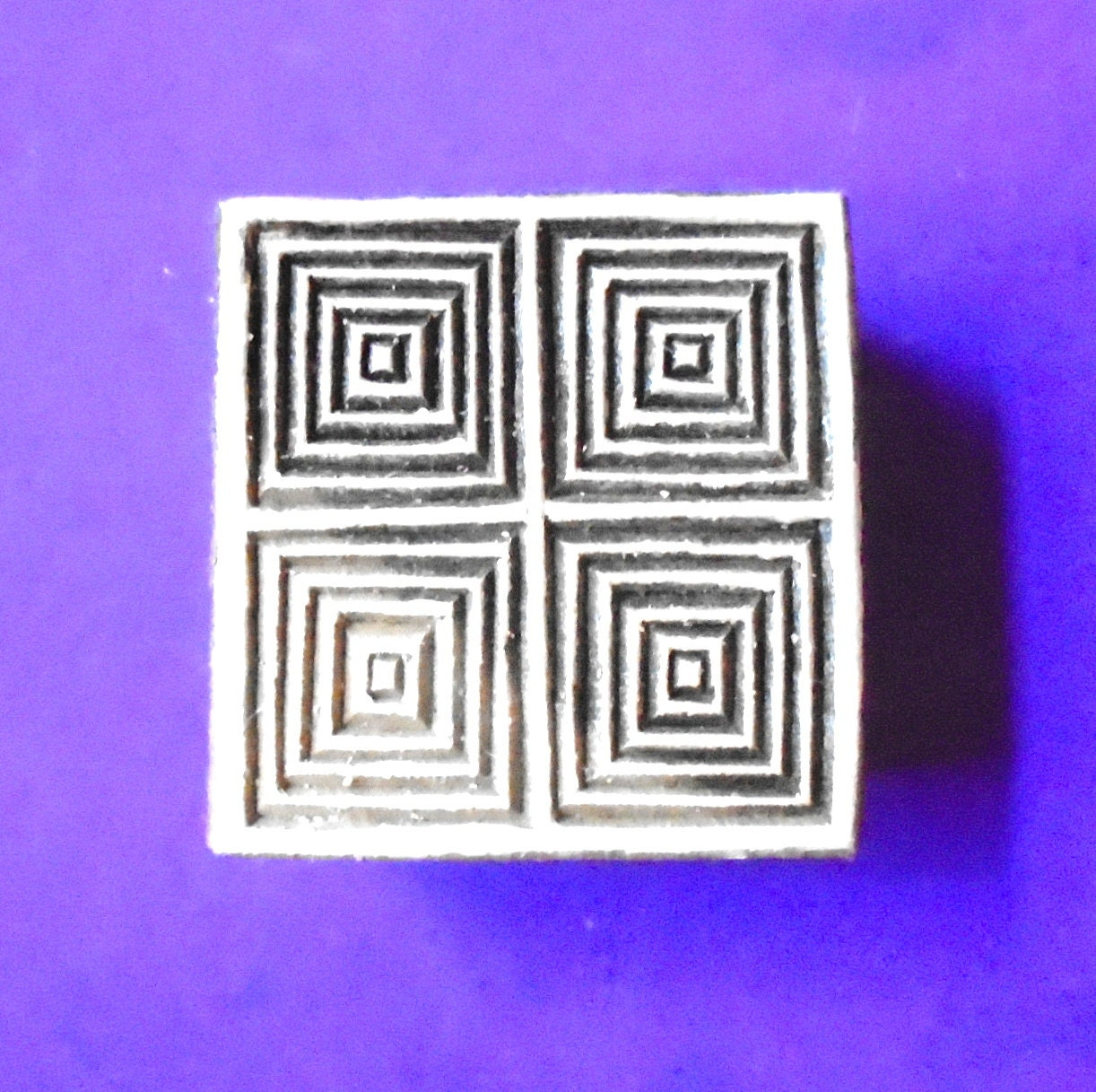 Geometric square wood stamp hand carved fabric textile