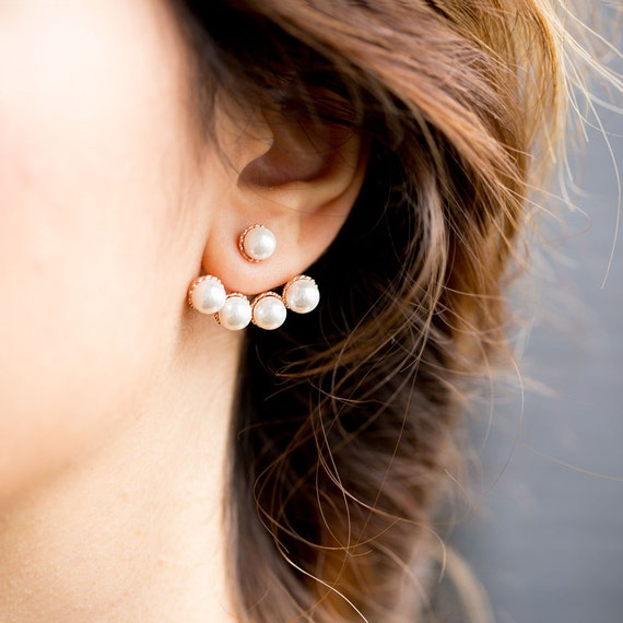 front and back pearl earrings pearl front and back post silver earring ear cuff earring 2763