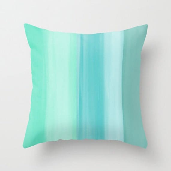 Modern Turquoise Pillows : Abstract Throw Pillow Cover Mint Teal Aqua Turquoise Modern