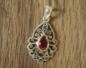 Sterling Silver Garnet Marcasite Teardrop Swirl Pendant Chain (9)