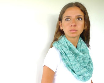Green cotton scarf. Knit summer scarf. Loose knit scarf. Knitted scarf. Gift idea for her