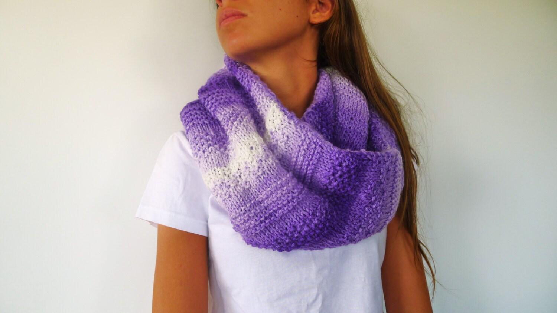Cuello de punto lila hecho a mano bufanda reversible lila - Bufandas de lana originales ...