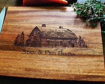 Personalized Cutting Board, Custom Engraved Wood Rustic Barn, Farm, Rustic Wedding, Anniversary, Housewarming, Christmas, Birthday Gift.