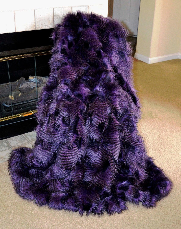 faux fur throw purple ostrich fake fur blanket throw. Black Bedroom Furniture Sets. Home Design Ideas