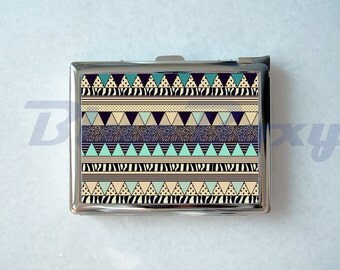 Aztec Geometric Cigarette Case with Lighter, Cigarette Box, Card Holder