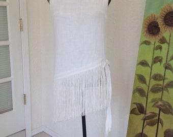 Vintage White Gauze blouse with Fringe