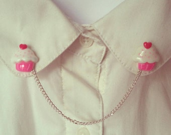 Cupcake Charms Collar Cardigan Clips Pink and White Cute Accessory