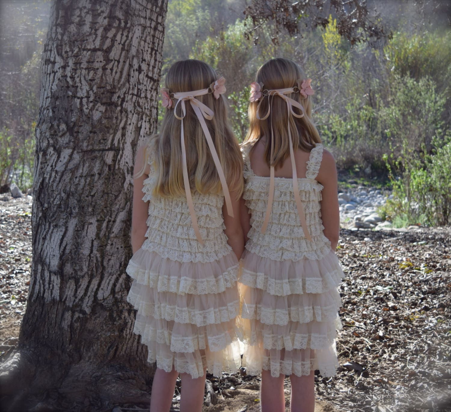 SALE Rustic Flower Girl Dress in Champagne by BohoHalo pany
