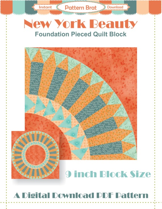 New York Beauty Quilt Pattern Instant Download By Patternbrat