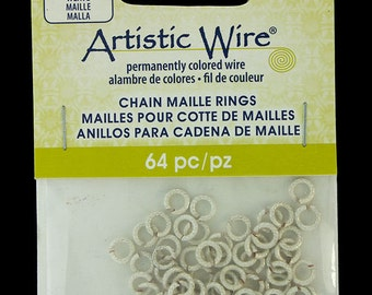 "Artistic Wire Weave Wire Silver Color Jump Ring 3.1mm ID (1/8"") 18ga (900AWSW-03)"
